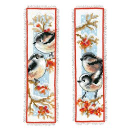 Vervaco Long-tailed Tits & Red Berry Bookmark Cross Stitch Kit (2 pcs)