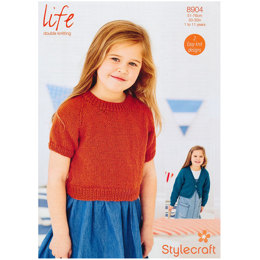 Girl's Simple Top and Cardigan in Stylecraft Life DK - 8904