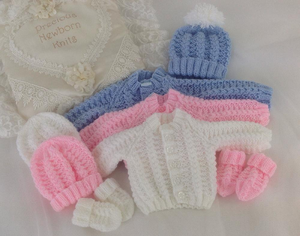 Free Knitting Patterns For Baby Sweaters Beginners : Pattern 54 Babies Cosy Cardigan Set - Sizes: Early Baby & 0-3 Months Knit...