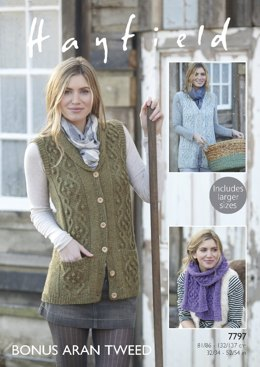 Scarf and Shawl Collared Waistcoats in Hayfield Bonus Aran Tweed with Wool - 7797- Downloadable PDF