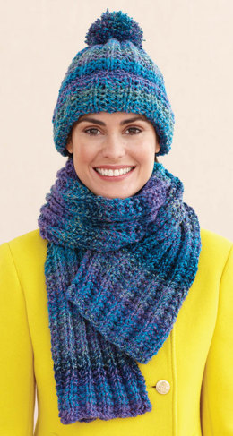 Rustic Ribbed Hat and Scarf in Lion Brand Tweed Stripes - L0611D