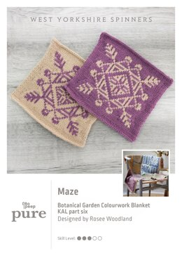Bo Peep Pure Botanical Garden Blanket KAL - Maze in West Yorkshire Spinners - WYSKAL06M - Downloadable PDF