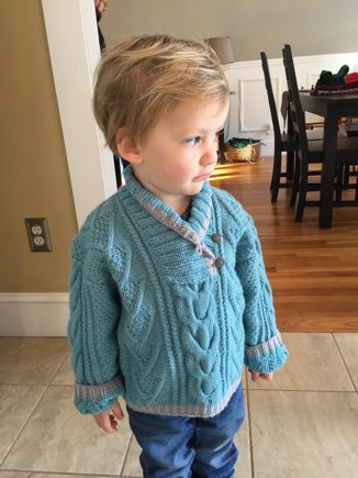 Wess Cable Pattern Sweater With Shawl Collar Knitting Project By