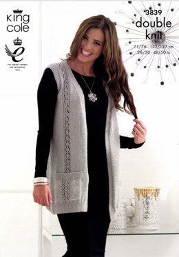 Cardigan and Waistcoat in King Cole Glitz DK - 3839