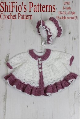 Crochet Pattern Matinee Jacket & Bonnet UK & USA Terms #357
