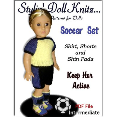 Doll clothes pattern.(knit) Fits American Girl Doll. Soccer Set 023