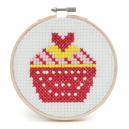 Trimits Cupcake Cross Stitch Kit with Hoop