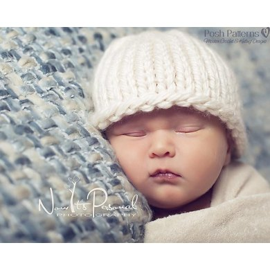Easy Knit Baby Beanie Knitting Pattern 227 Knitting Pattern By Posh