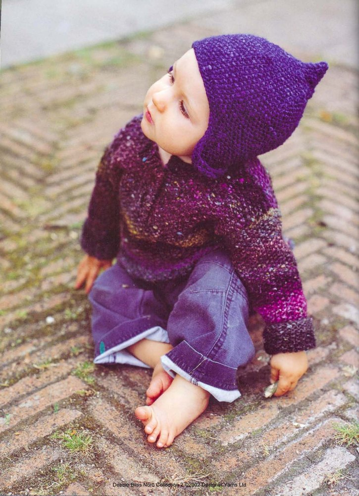 Moss Stitch Baby Pullover in Noro Silk Garden | Knitting