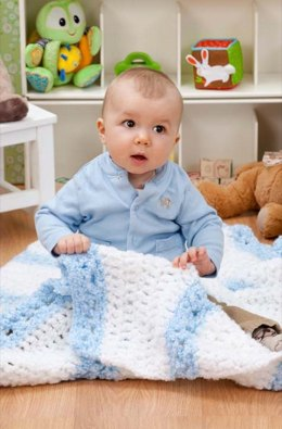 Quick & Cozy Blanket  in Red Heart Baby Clouds - LW3011