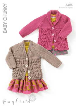 Detailed Cardigans in Hayfield Baby Chunky - 4406