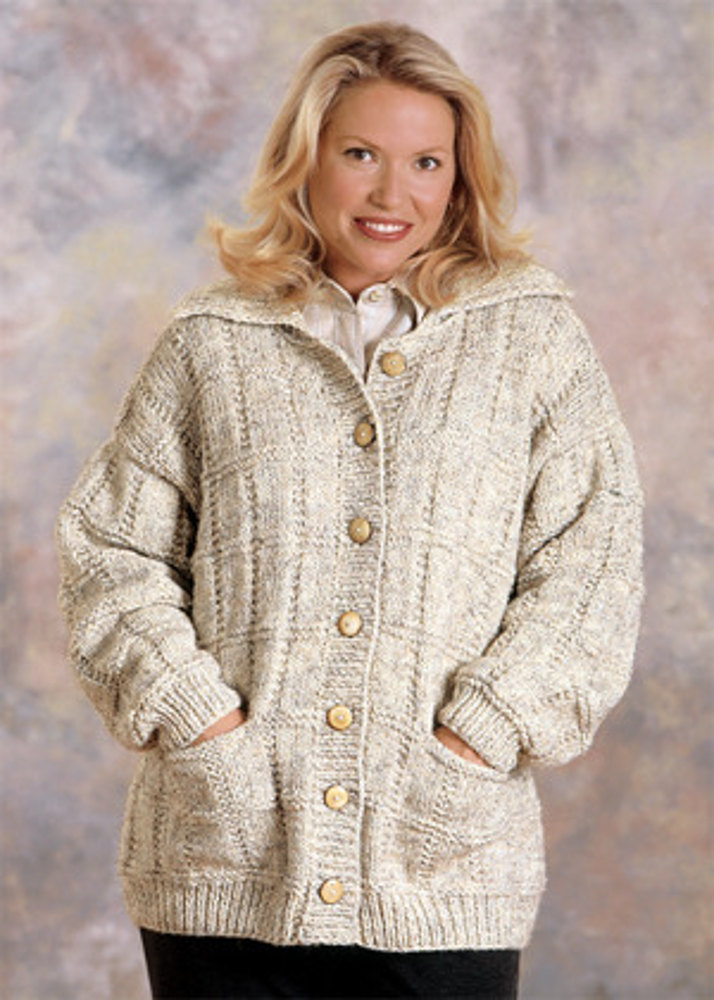 Box Stitch Cardigan Knit In Lion Brand Wool Ease Chunky 1195a