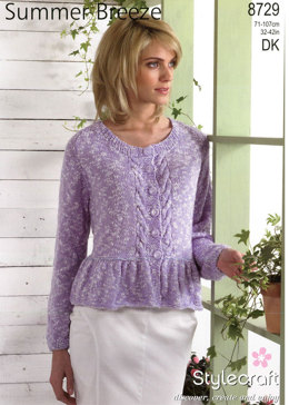 98e3e86f7c6bf2 ... knitting patterns Browse now · Cardigans in Stylecraft Summer Breeze -  8729