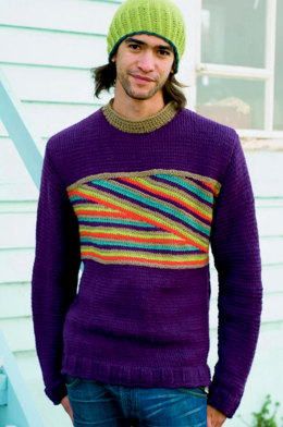 Mens Stripes Jumper in Rooster Yarns Almerino Aran