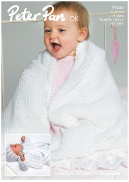 Matinee Coat, Angel Top, Bonnet, Mittens, Bootees and Shawl in Peter Pan DK 50g - 1046