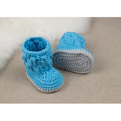 Blue Snowman Crochet Baby Booties