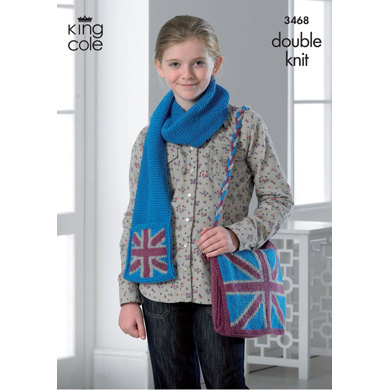 Hat, Scarf and Bag in King Cole DK - 3468