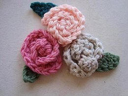 607 CROCHET rolled rose flower, and leaf