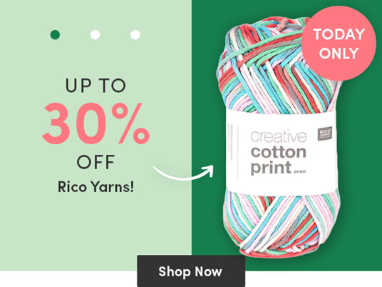 Up to 30 percent off Rico yarns!