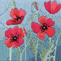 Derwentwater Designs Wild Poppies Long Stitch Kit - 11 x 11cm
