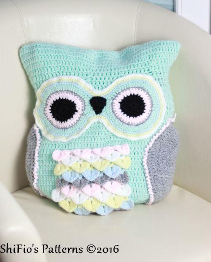 Owl Cushion Knitting Pattern : 235 Owl Cushion Crochet Pattern #235 Crochet pattern by ShiFios Patterns...