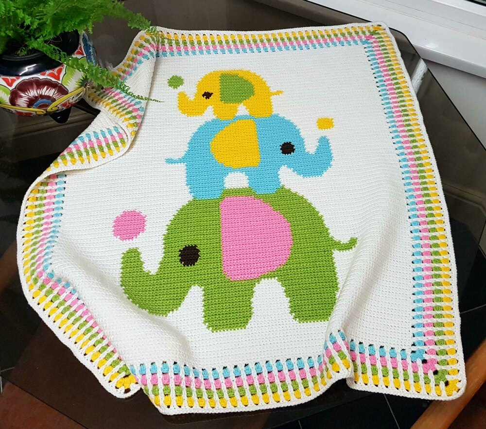 CROCHET Baby Blanket - Three Elephants Crochet pattern by Pattern World
