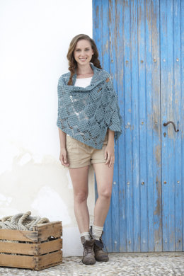 Crochet Diamond Pattern Wrap and Triangular Shawl with Frill in Sirdar Click DK - 7046