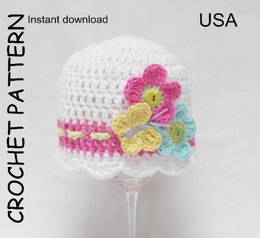 Crochet hat pattern - Flutterby Flowers