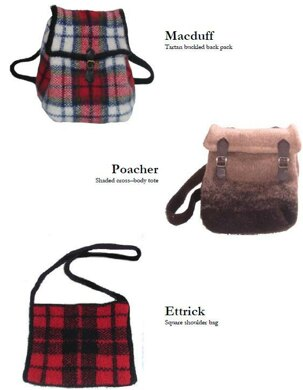 Macduff, Ettrick and Poacher - three felted bags