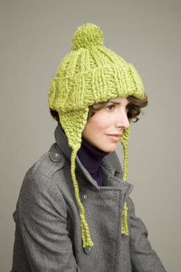 Limeade Earflap Hat in Lion Brand Hometown USA - L0196AD ... bca0f895390