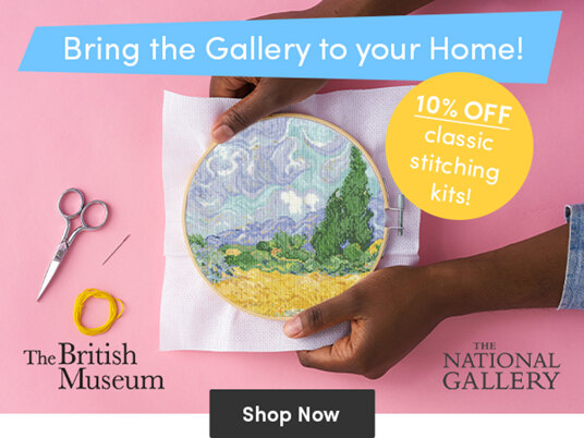 Bring the Gallery to your Home! 10 percent off classic stitching kits!