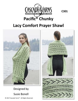 Lacy Comfort Prayer Shawl in Cascade Yarns Pacific Chunky - C301 - Downloadable PDF