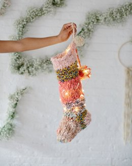 Holiday Stocking in Knit Collage Gypsy Garden, Rolling Stone, Cast Away - Downloadable PDF