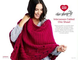 Interwoven Cabled Chic Shawl in Red Heart Chic Sheep - LW5904 - Downloadable PDF