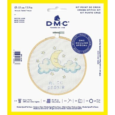 "DMC Baby Moon (with 6"" hoop) Cross Stitch Kit - 25cm x 25cm"