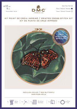 "DMC Red Butterfly (printed fabric, 6"" hoop) Cross Stitch Kit - 25cm x 25 cm - BK1788"