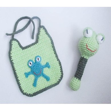 Frog Baby Bib And Rattle Crochet Pattern By Wistfully Woolen