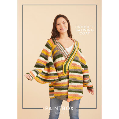 Crochet Batwing Coat in Paintbox Yarns Chunky Pots - Downloadable PDF