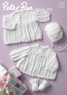 Jackets, Bonnet & Mitts Babies Set in Peter Pan 3 Ply - 1065