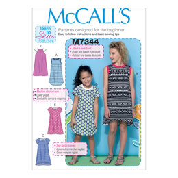 McCall's Children's/Girls' Raglan Sleeve Knit Dresses M7344 - Sewing Pattern