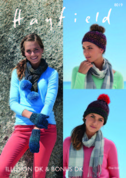 Hats, Scarf and Mittens in Hayfield Illusion and Bonus DK - 8019 - Downloadable PDF