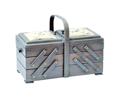 Large Cantilever Sewing Box With Fabric Pin Cushion Lids - Antique Grey