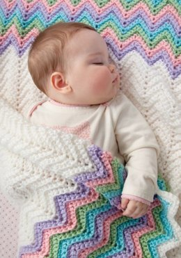 Rickrack Rainbow Baby Blanket in Red Heart Soft Baby Steps Solids - LW2548
