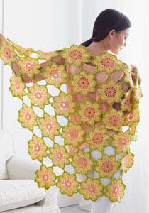 Garden Flowers Shawl in Caron Simply Soft Collection & Simply Soft - Downloadable PDF