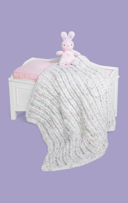 Ribbed Baby Blanket in Red Heart Baby Clouds Solids - LW1505 - Downloadable PDF