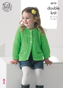 Girls Lace Cardigan and Sweater in King Cole Big Value Baby DK - 4219 - Downloadable PDF