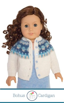 Bohus Cardigan for 18 inch Dolls, Knitting Pattern, Doll Clothes Pattern