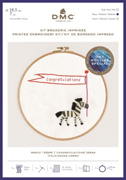 "DMC Congratulations! Zebra (printed fabric, 7"" hoop) Embroidery Kit"