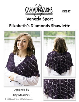 Elizabeth's Diamonds Shawlette in Cascade Yarns Venezia Sport  - DK357 - Downloadable PDF