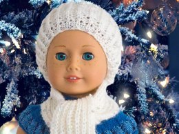 "Waiting for Christmas Hat and Scart for American Giirl, 18"" Gotz dolls, other similar dolls"